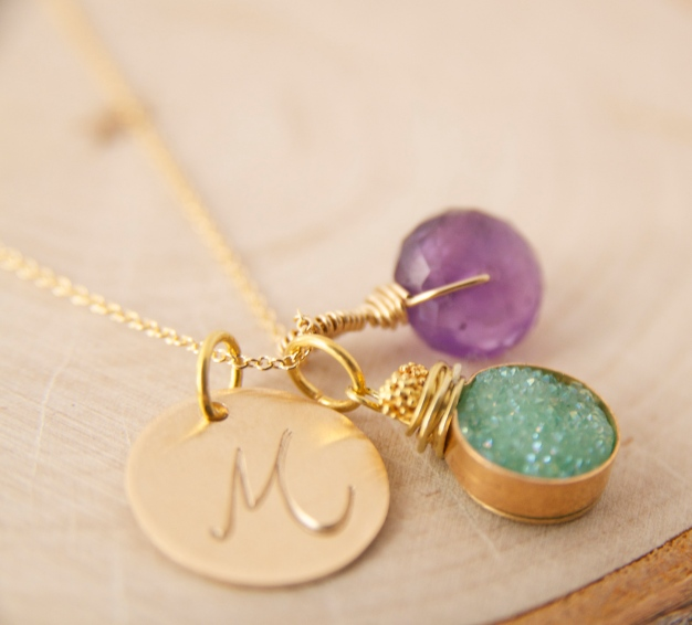 Druzy Personalized Necklace in Sea foam druzy and Amethyst