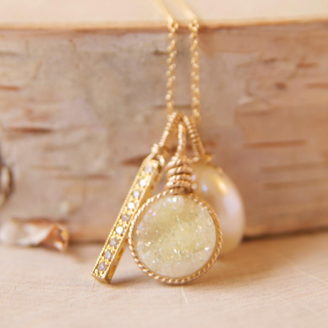 lemon druzy pendant