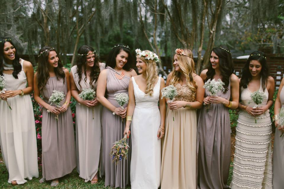Real Bridesmaids In Beige Bridesmaid Dresses: Different Colored Dress